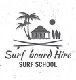 Surf board hire concept Summer surfing retro badge vector image