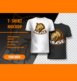 t-shirt mockup with horse phrase in two colors vector image vector image