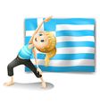The flag of Greece and a young girl exercising vector image vector image