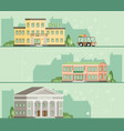 travel by bus hotel restaurant museum flat vector image