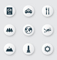 traveling icons set with mountains sun monument vector image