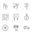Trip to sea icons set outline style vector image vector image