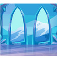 view through arch ice castle at landscape vector image vector image