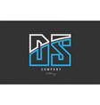white blue alphabet letter ds d s logo icon design vector image vector image