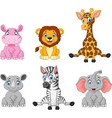 wild animal cartoon collection set vector image vector image