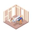wooden house builders carpenter workers interior vector image vector image