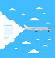 worldwide air traveling poster with jet airplane vector image vector image