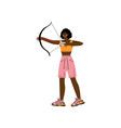 young woman with bow and arrow african american vector image vector image