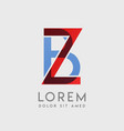 zb logo letters with blue and red gradation vector image vector image