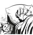 woman sleeping with alarm line vector image