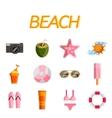 Beach flat icon set vector image