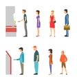 ATM with line of men and women vector image vector image