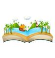 book with ocean scene vector image vector image