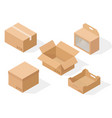 brown paper cardboard boxes isometric collection vector image