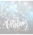 Christmas handwritten lettering text on blurred vector image vector image