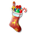 christmas toy form red winter sock with sweets vector image