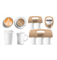 coffee packaging cups mock up ceramic and vector image