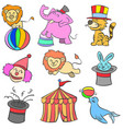 cute animal circus of doodle style vector image vector image