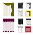 different kinds of curtains cartoonblackflat vector image