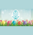 easter background easter eggs tulips and blades vector image vector image