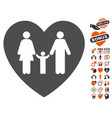 family love heart icon with valentine bonus vector image vector image