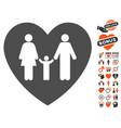 family love heart icon with valentine bonus vector image vector image