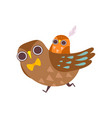 father owl carrying his baon his back happy vector image vector image