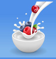 forest berries in yogurt berry in milk splash vector image vector image
