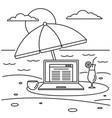 freelancer notebook beach concept background vector image