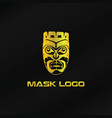 gold mask logo template vector image