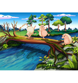 Hedgehogs playing at the river vector image vector image