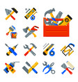home repair tools icons working construction vector image vector image