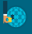 last global detail concept with jigsaw puzzle in vector image vector image