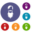 male avatar with beard icons set vector image vector image