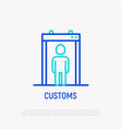 metal detector in airport thin line icon vector image