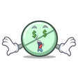 money eye drug tablet mascot cartoon vector image