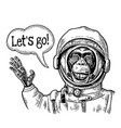 monkey in astronaut suit smiles and waves his hand vector image vector image