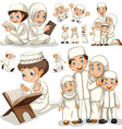 Muslim family in different actions vector image vector image