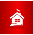 Nice Christmas house on the red background vector image vector image
