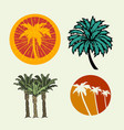 palm trees summer time beach life hand lettering vector image