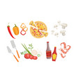 pizza and all ingredients for cooking it products vector image vector image