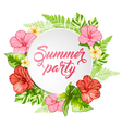 Round banner with pink tropical flowers vector image vector image