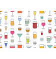 seamless pattern with alcoholic drinks glasses vector image