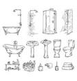set bathroom objects bathtub shover sink vector image