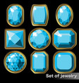 set of blue gems aquamarine of various shapes vector image vector image