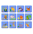 set playing cards with exotic animals vector image