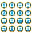 shop navigation foods icons blue circle set vector image vector image