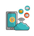 smartphone with cloud data service connection vector image vector image