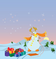 Snowman with sled banner vector image vector image