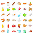 soup icons set cartoon style vector image vector image